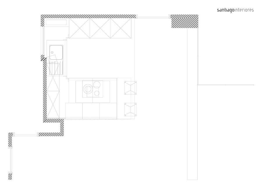 Reforma Santiago Interiores - Plano cocina blanca abierta Santos