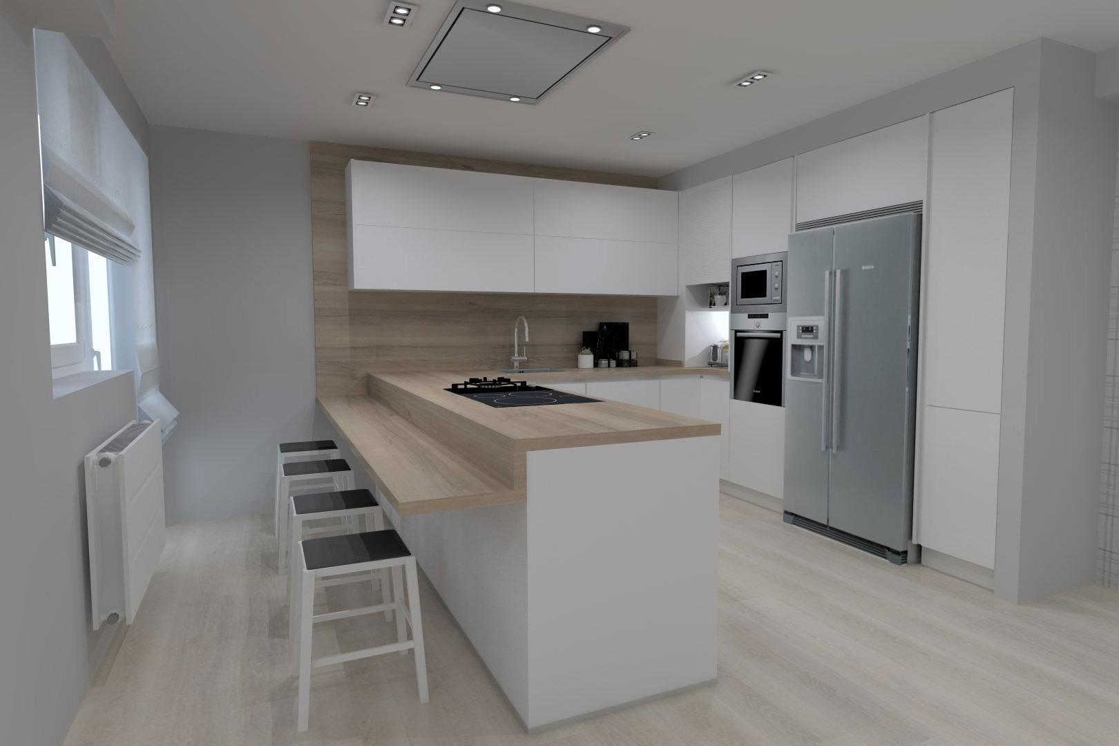 Cocina blanca con encimera y salpicadero de madera