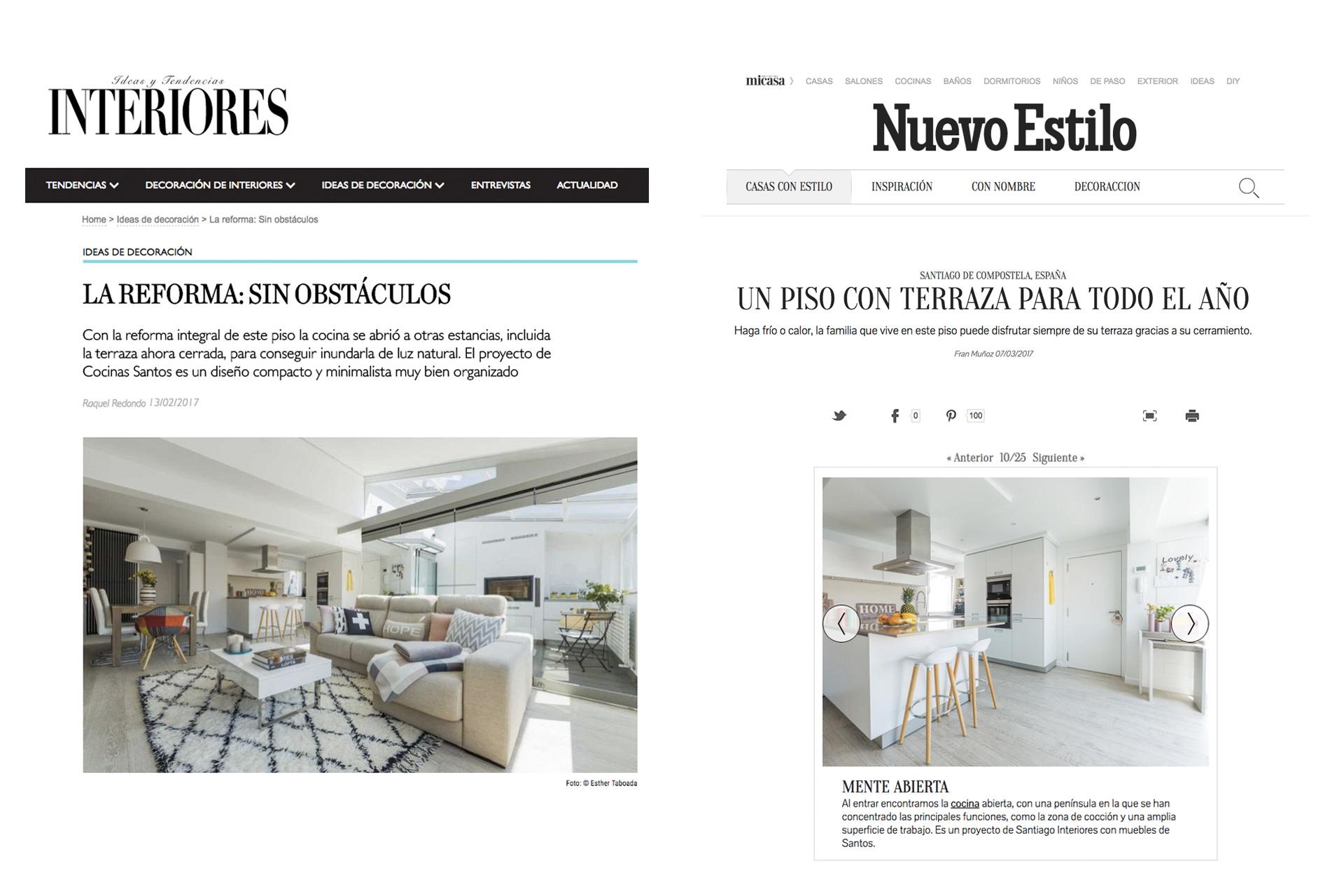 Santiago Interiores en los medios: una cocina abierta | Cocinas Santos | Santiago Interiores | Publicación en revista Interiores y Nuevo Estilo
