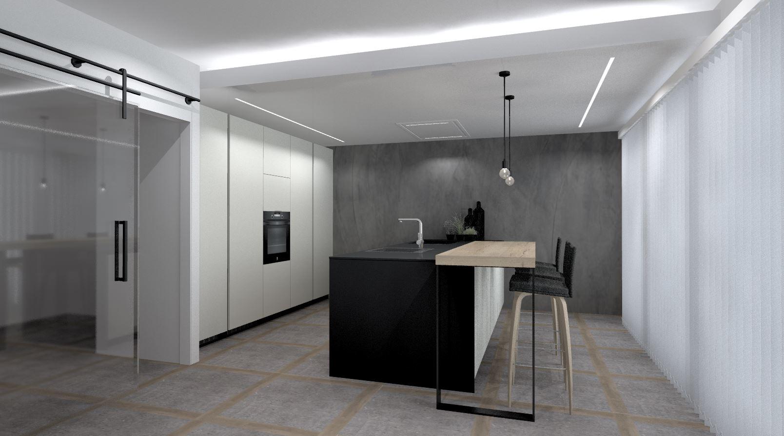 Cocina negra con suelo de madera Santos