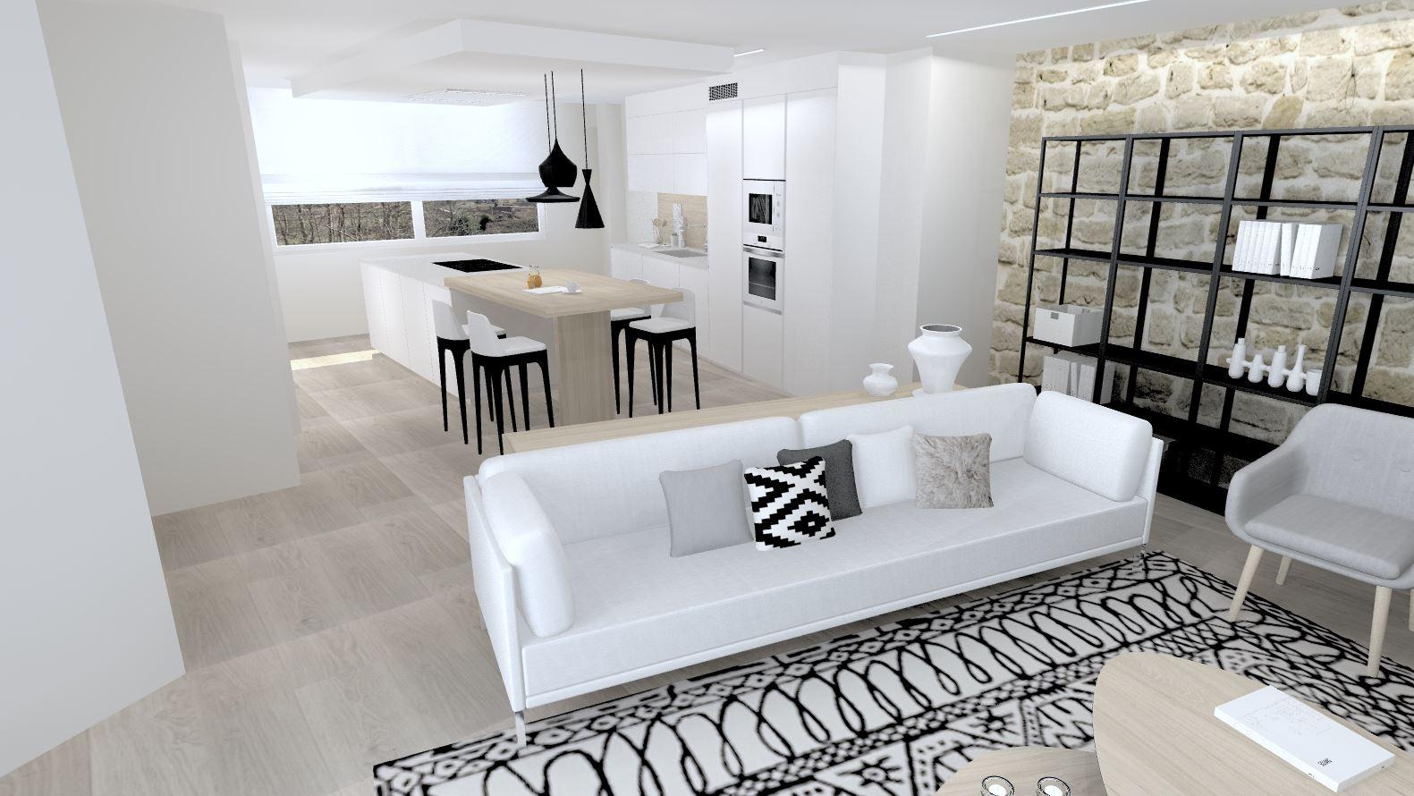 Cocina abierta al salón amplia y funcional Santiago Interiores