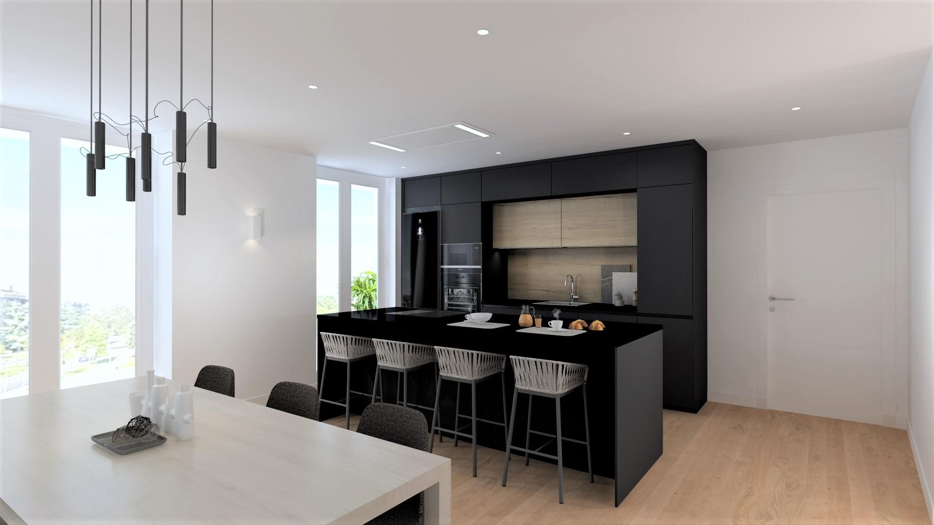 Cocina abierta con barra de desayuno Santiago Interiores
