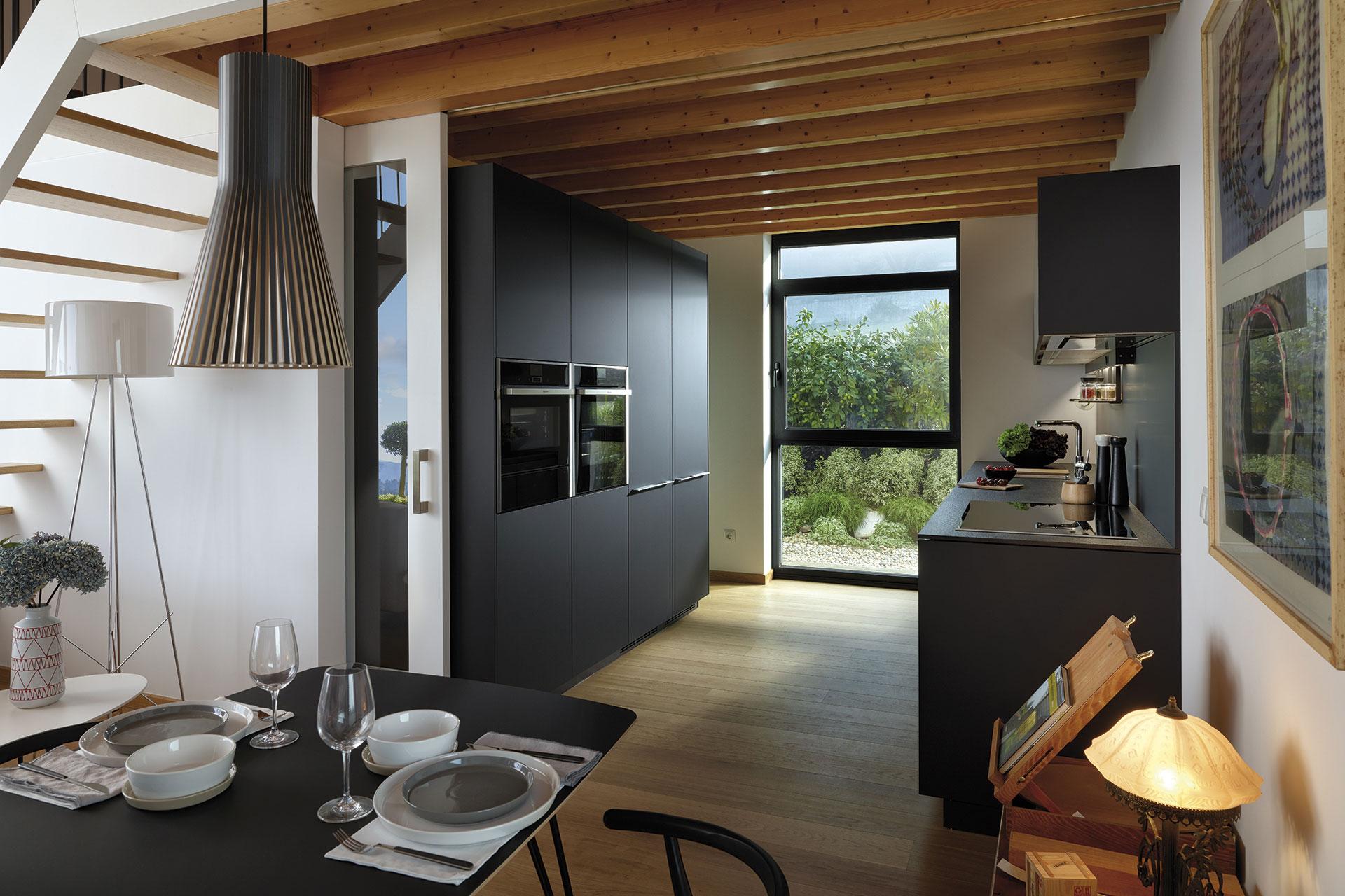 Tendencias: cocinas abiertas | Line LAH laminado Negro Seda | Cocinas Santos | Santiago Interiores