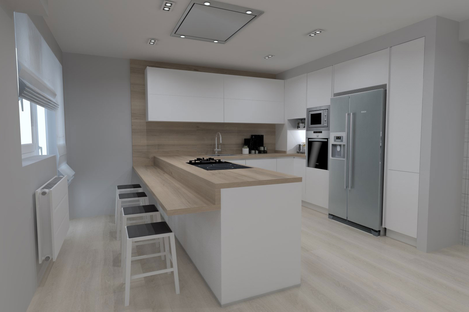 14 ideas de cocinas blancas para inspirarte santiago interiores - Cocinas blancas lacadas ...