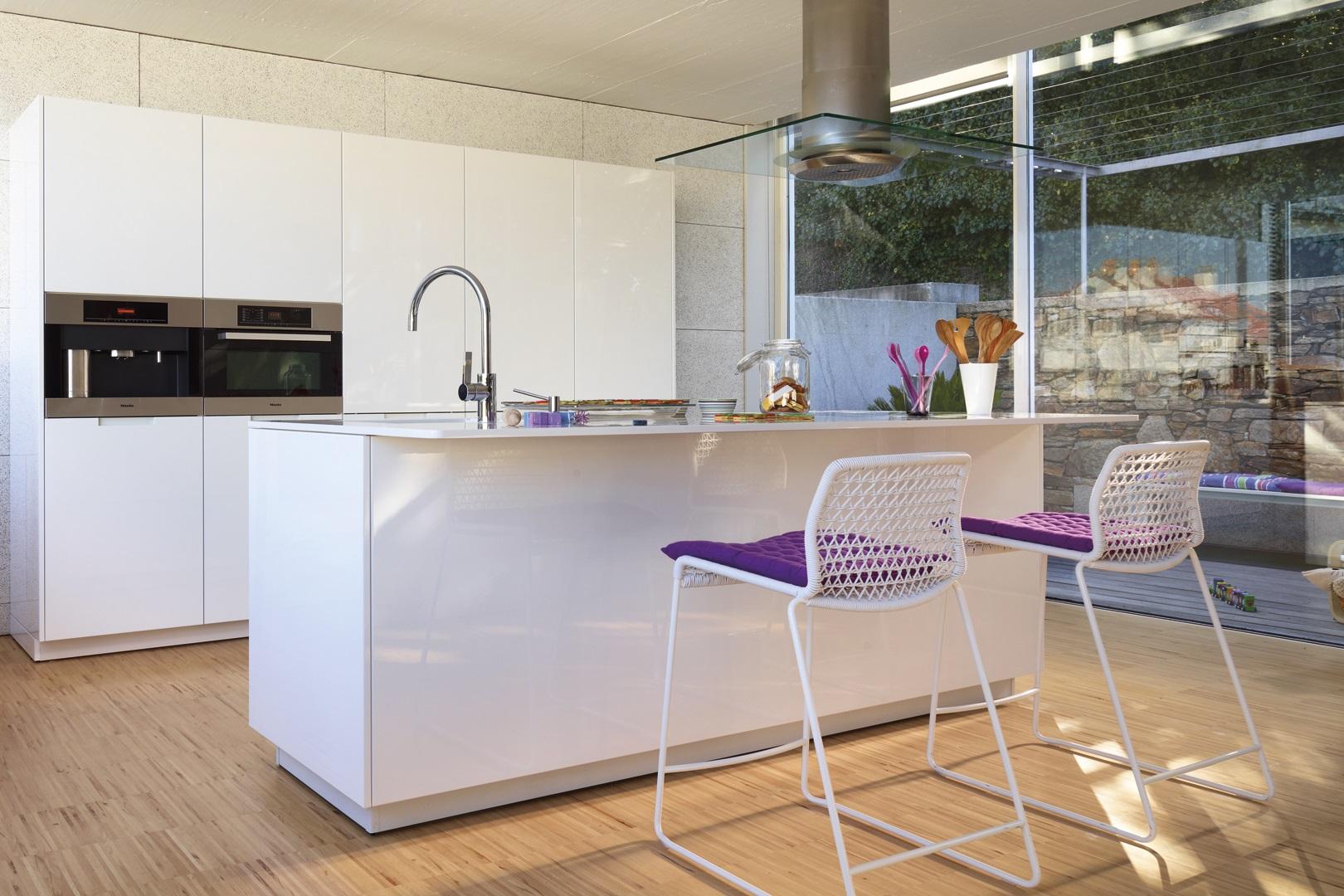Cocina blanca con isla y muebles en blanco brillo