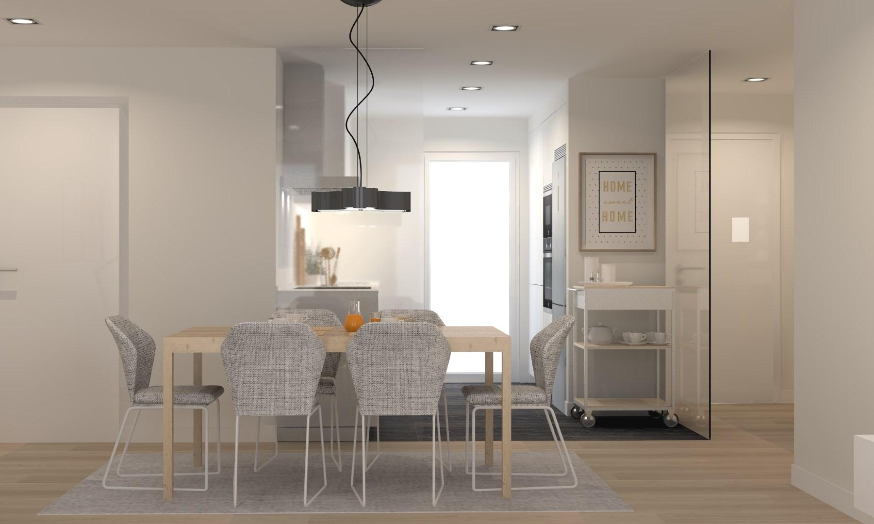 Cocinas pequeñas en paralelo abiertas en el lateral