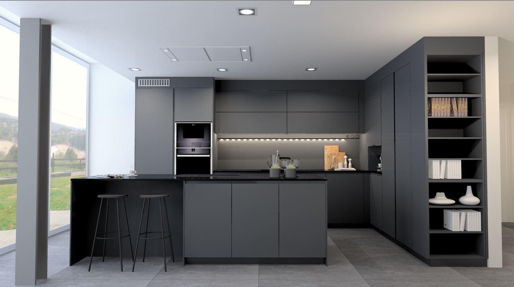 Cocina negra abierta y luminosa Santos