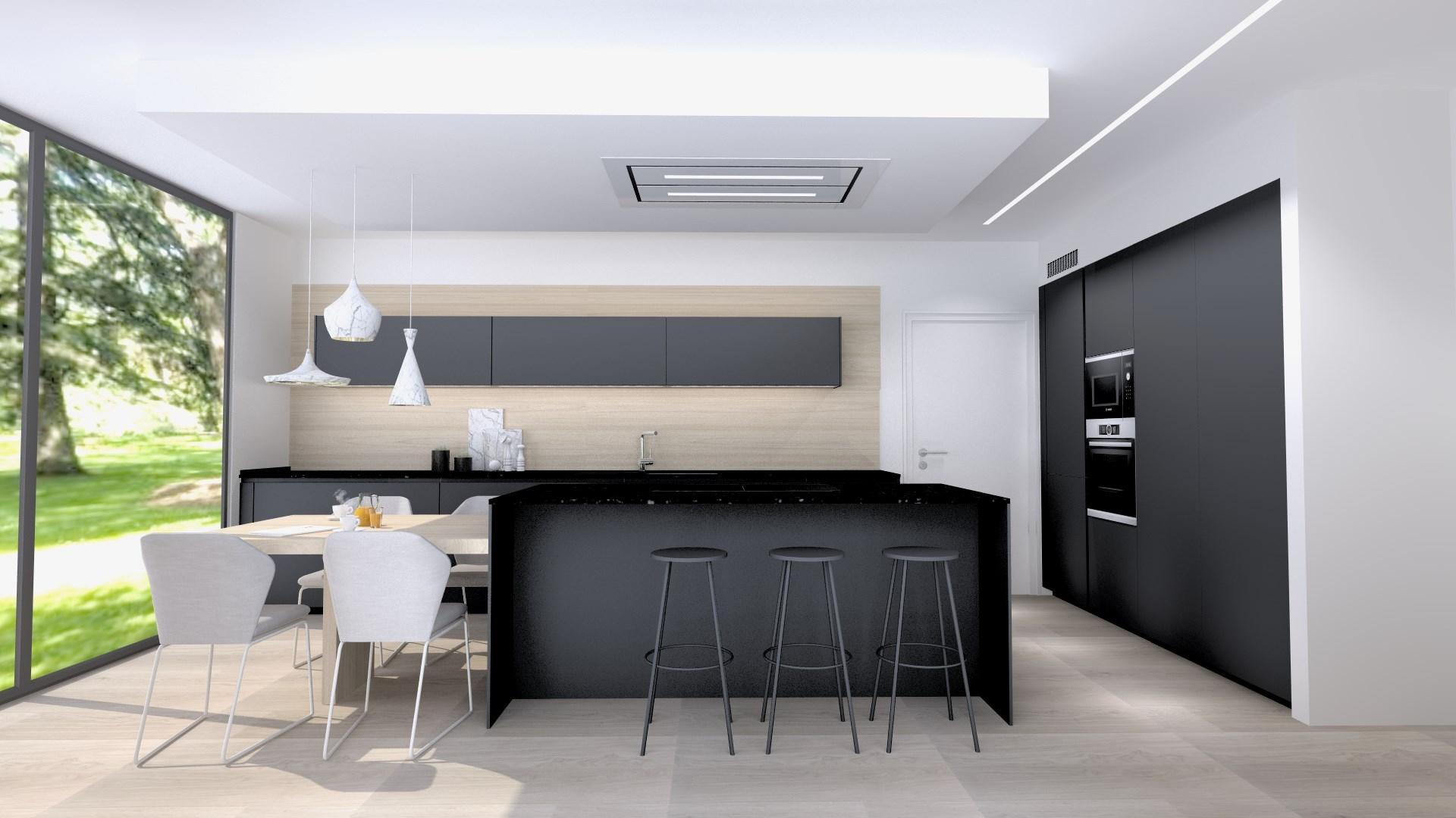 Cocina negra y madera acogedora Santos