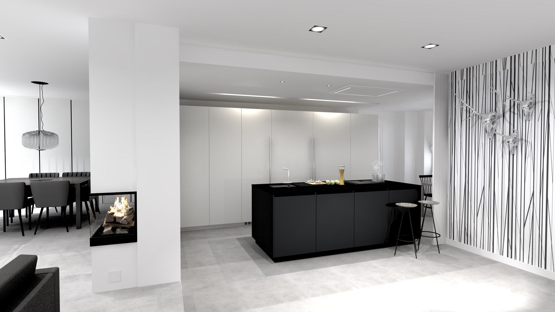 Cocinas grandes en blanco y negro Santiago Interiores