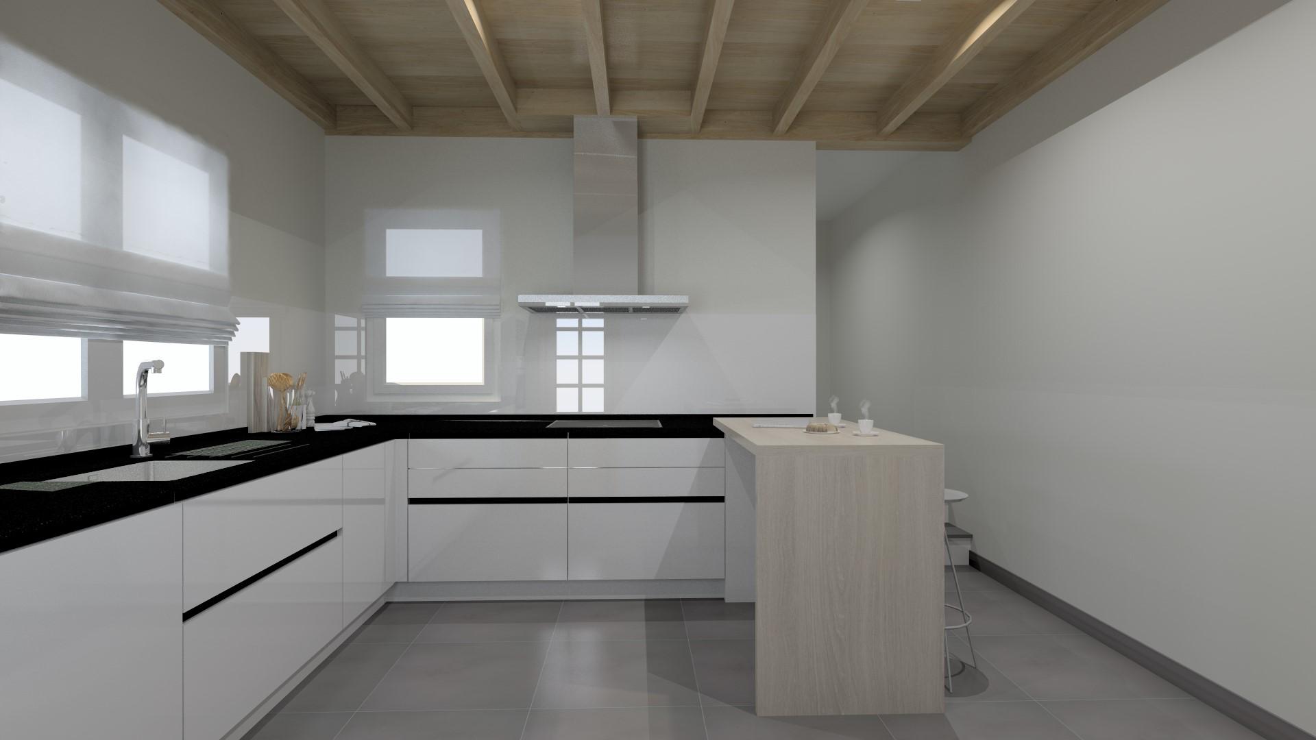 Cocinas pequeñas en blanco y negro Santiago Interiores