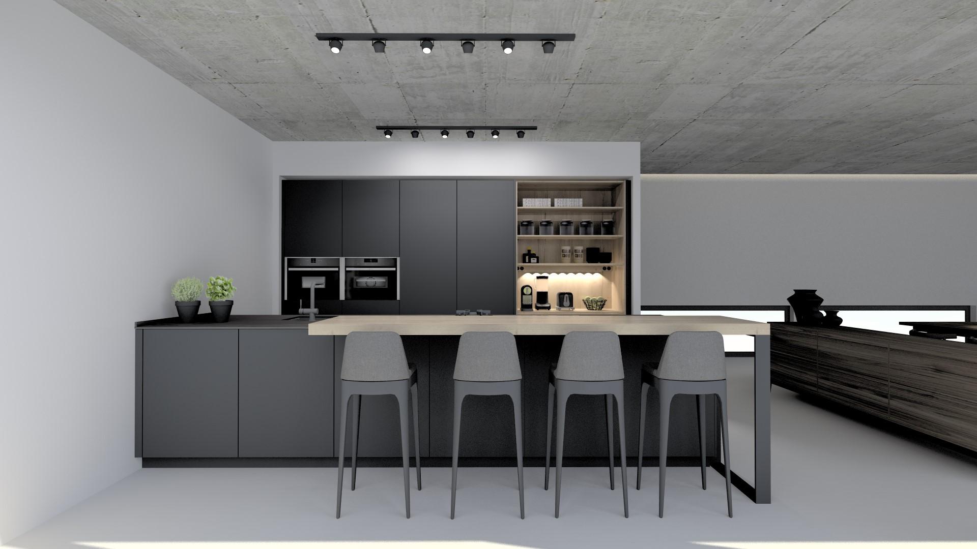 Cocina abiertas al salon con barra Santiago Interiores