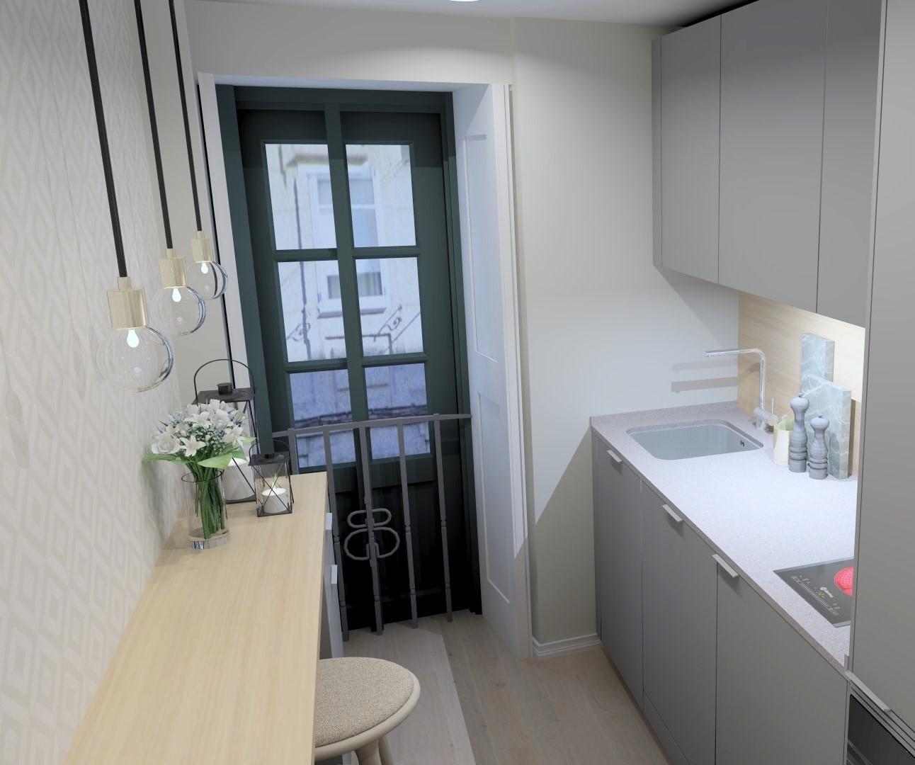 Cocinas lineales con barra Santiago Interiores
