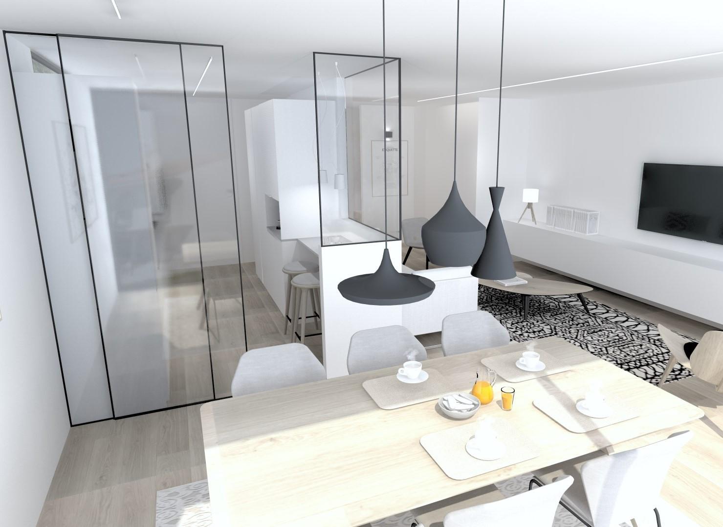 Cocinas pequeñas con barra Santiago Interiores