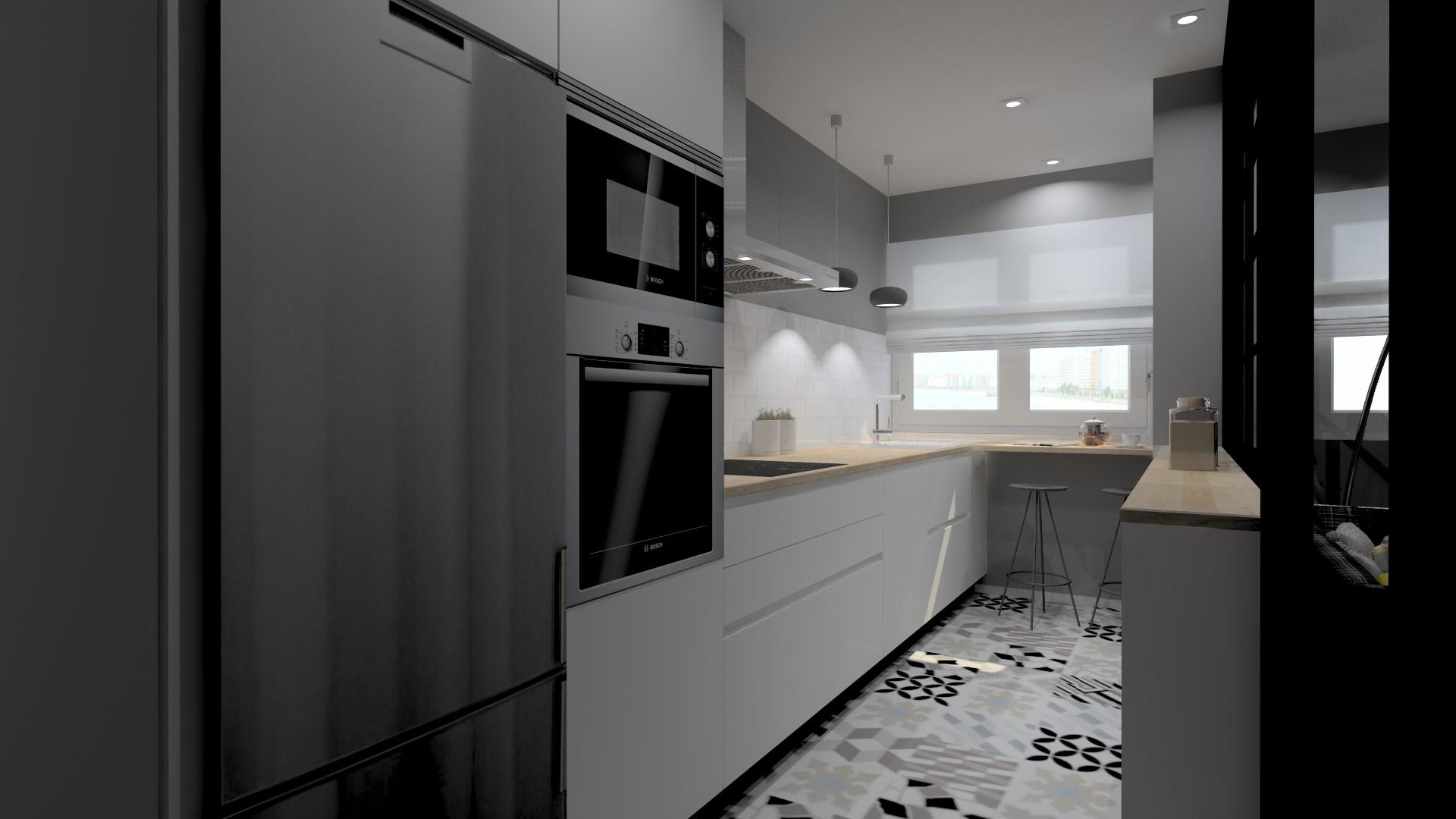 Cocinas pequeñas con barra y muebles en paralelo Santos