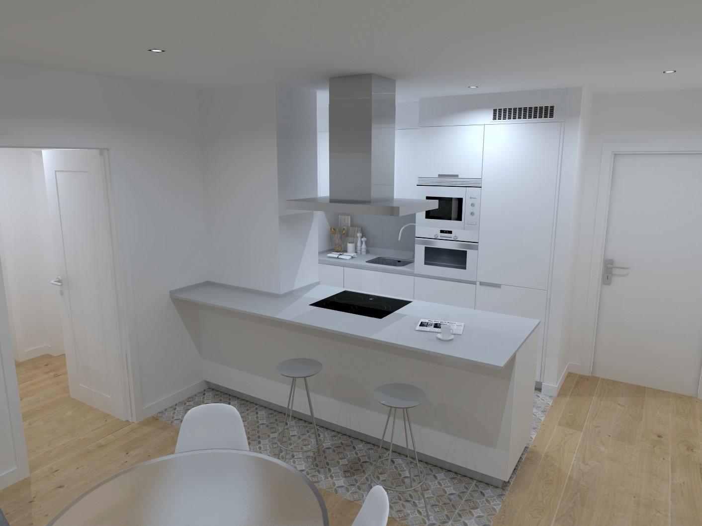 Cocina blanca y gris pequeña Santiago Interiores