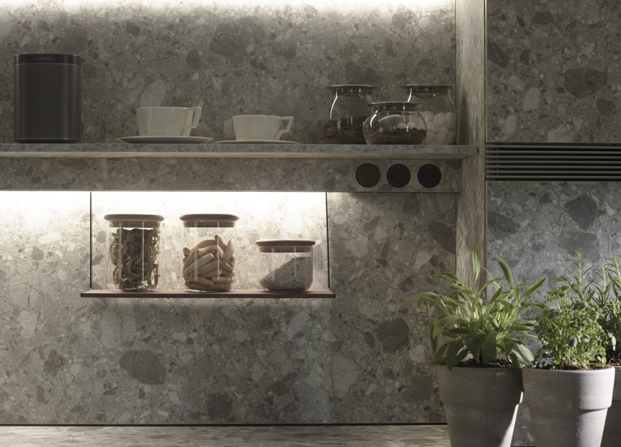 Estante multiusos en cocina lineal Santiago Interiores