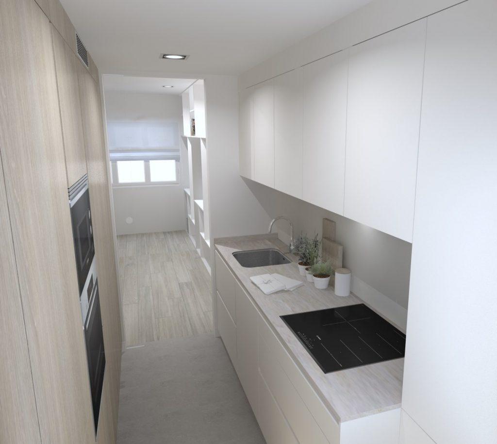 Reformar cocina pequeña con muebles columna Santos