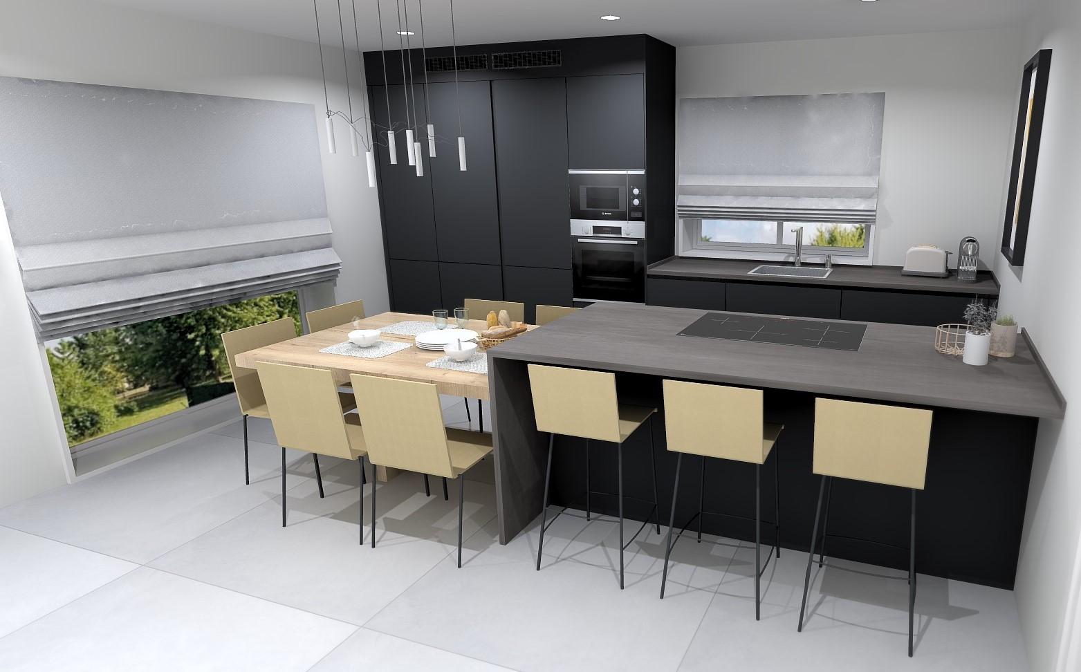 Cocina pequeña en paralelo con barra Santiago Interiores