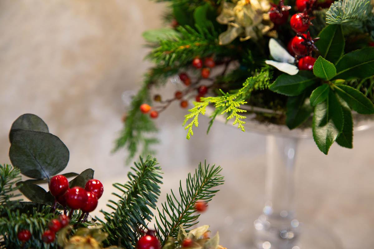 Adorno de Acebo para la mesa de Navidad