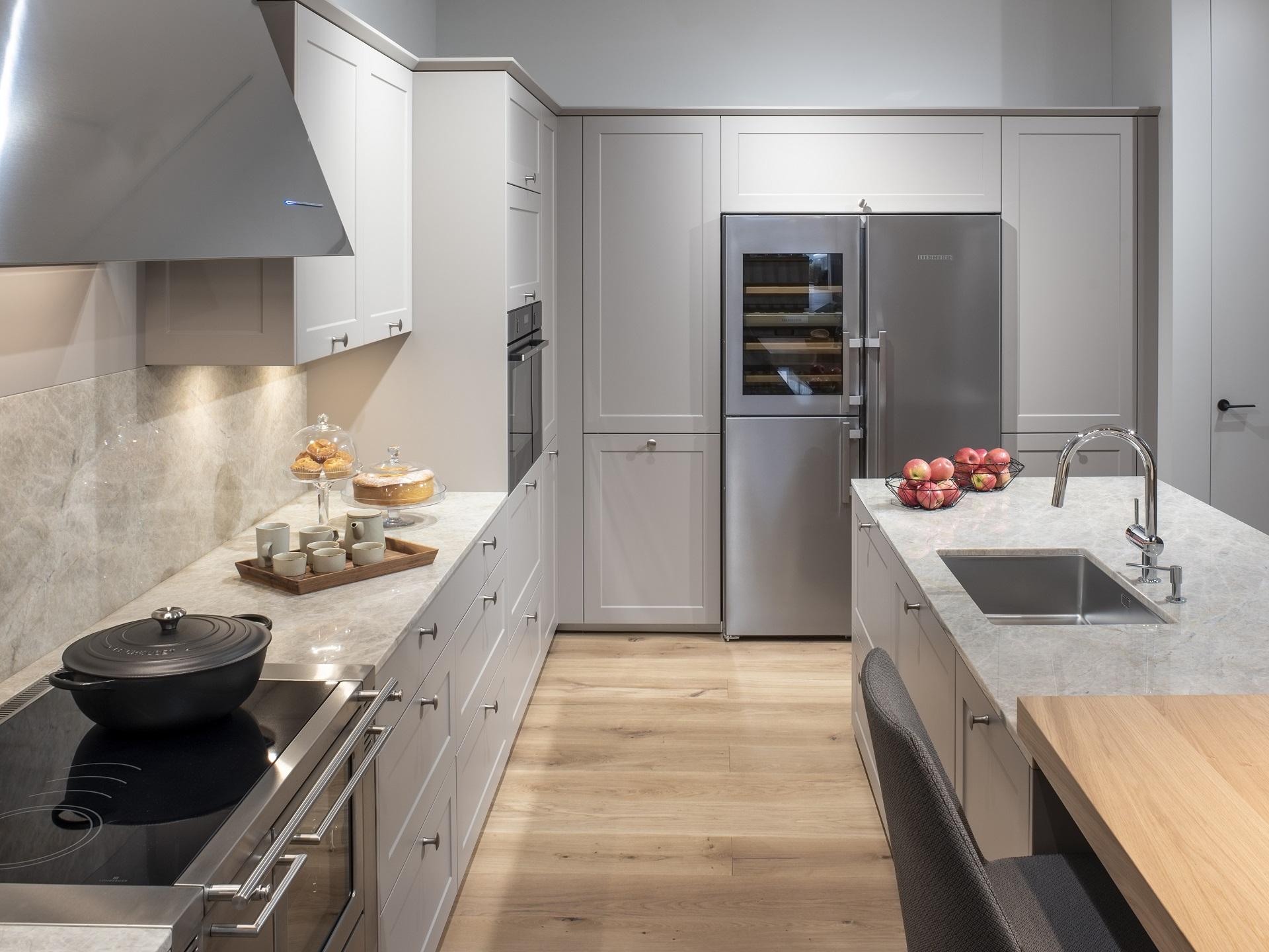 Muebles de cocina lacados. Materiales cocinas Santos