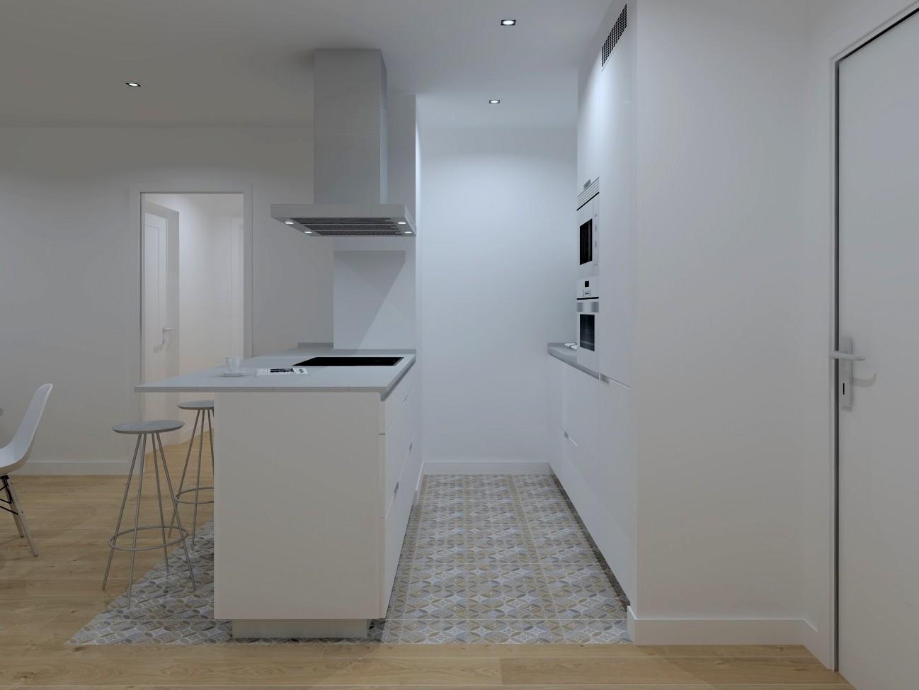 Cociña branca e gris clara con península Santiago Interiores
