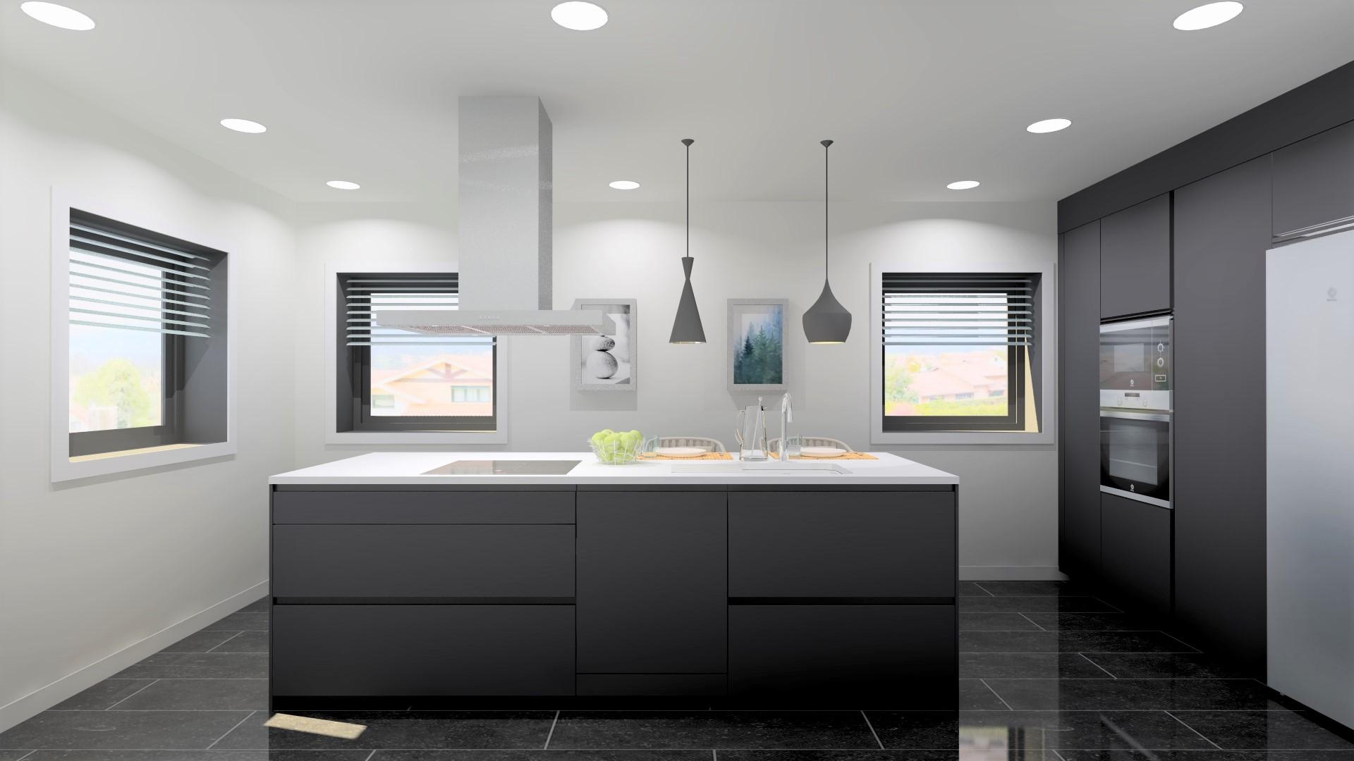 Cociña branca e gris con illa