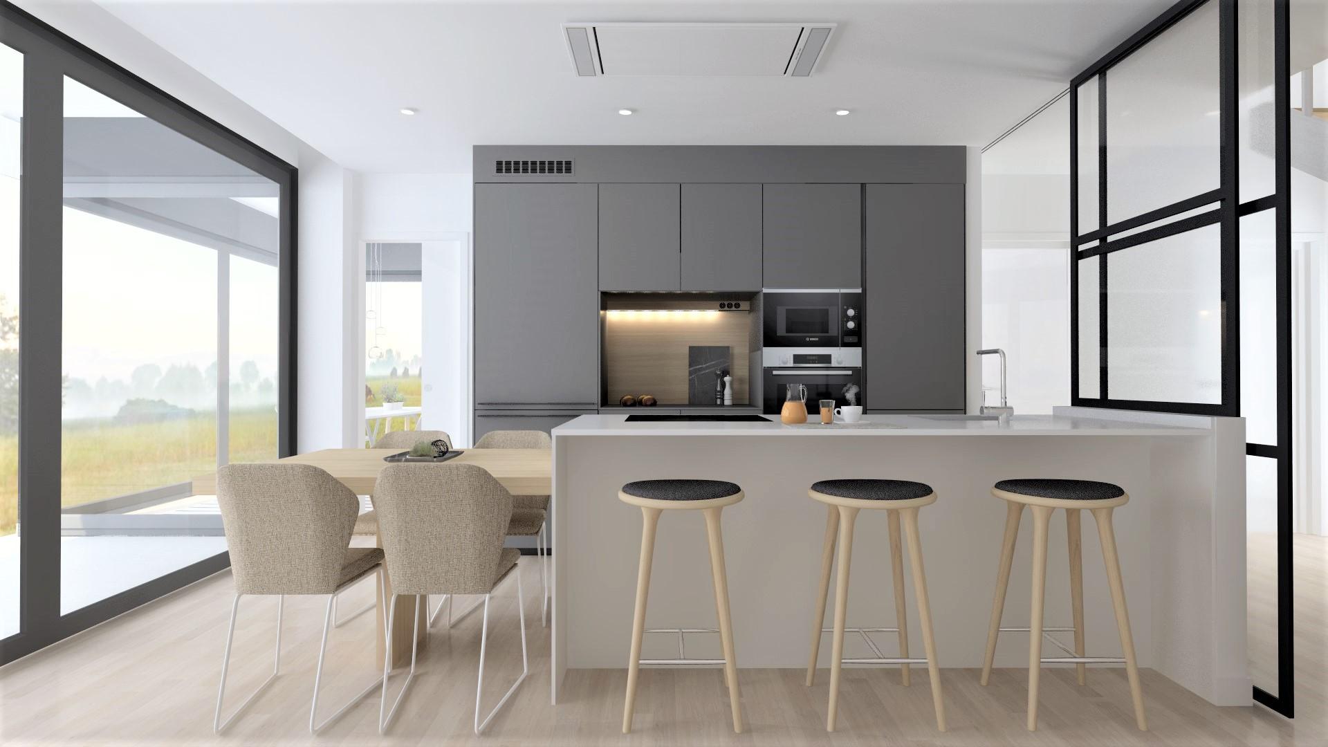 Cociña branca gris e madeira Santiago Interiores