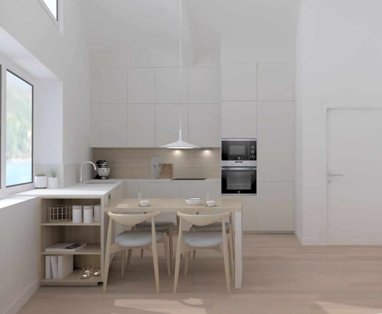 Cocina blanca y madera con estética nórdica